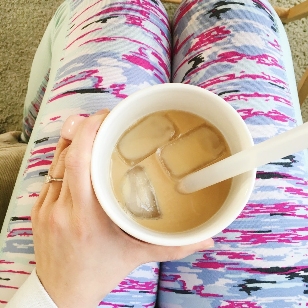 me in leggings with iced coffee
