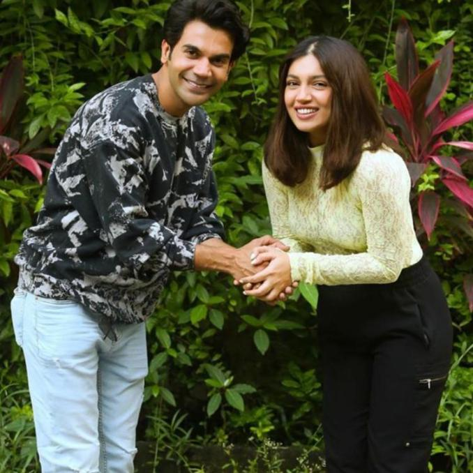 Bhumi Pednekar and Rajkummar Rao in Badhaai Do.