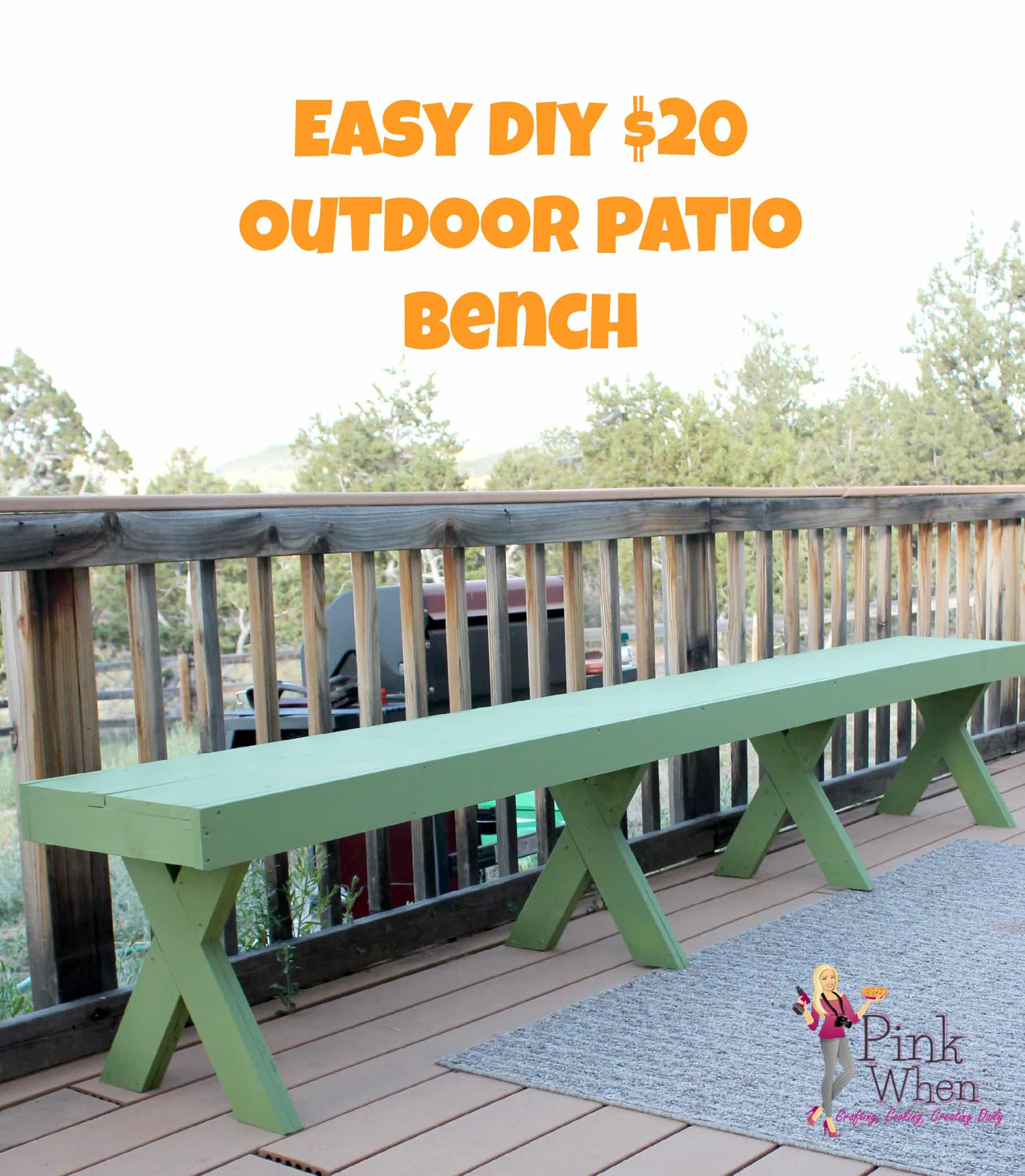 DIY $20 Outdoor Patio Bench - PinkWhen on Build Backyard Patio id=29172