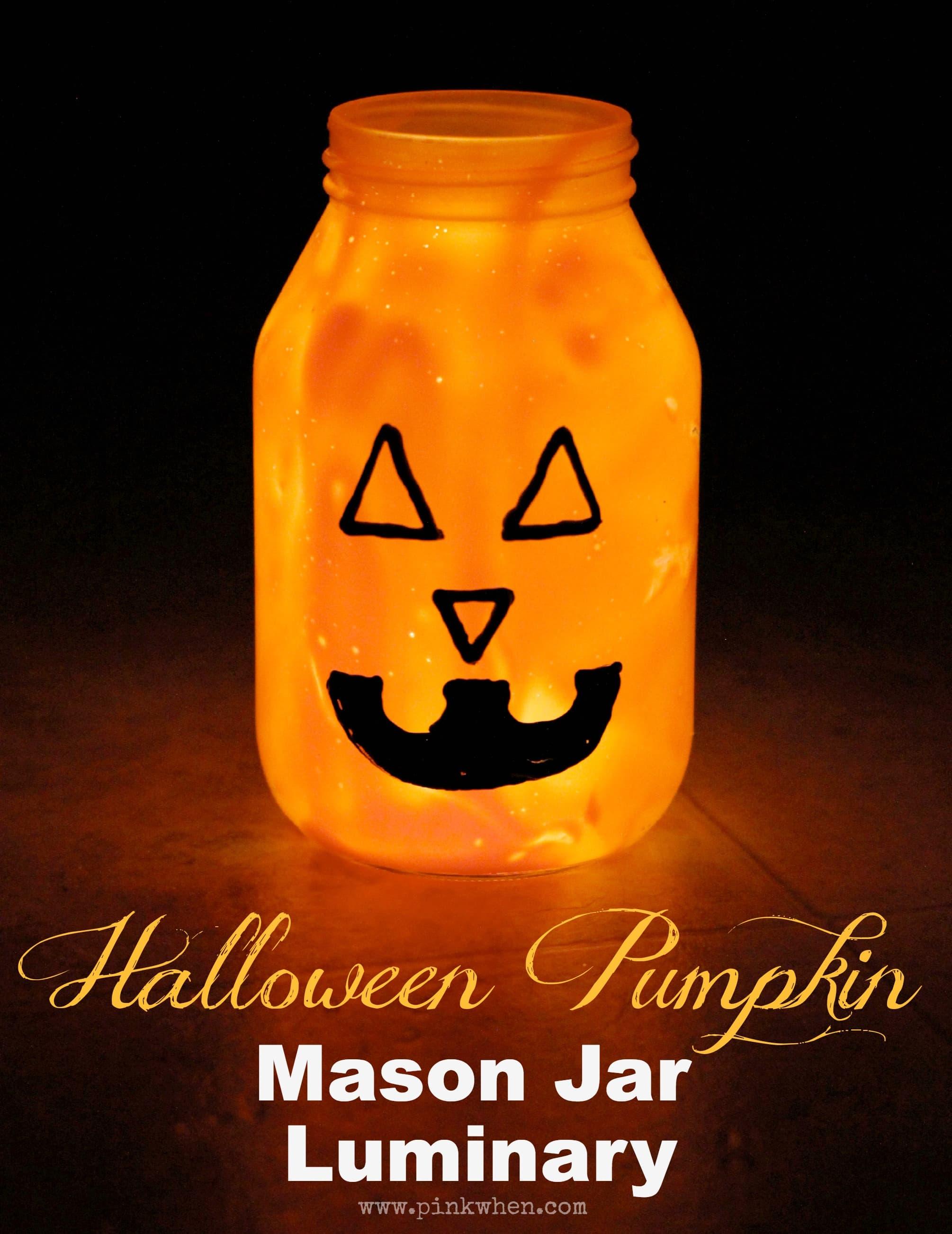 Pumpkin Mason Jar Luminary PinkWhen