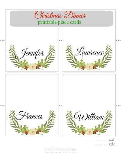 Christmas Placemats Baubles Design Printable Template 4 Instant Table Name Placecards
