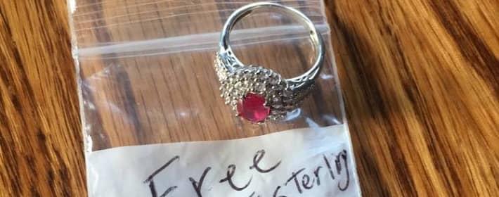 Plastic bag with fake Kay Jewelers ring
