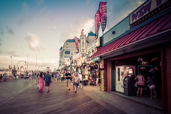 A scene on the Ocean City Boardwalk in Ocean City, Maryland on the Atlantic Ocean