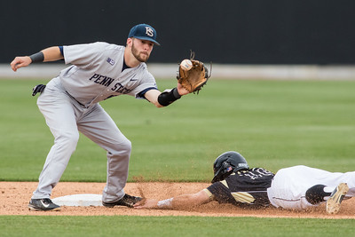 Cody Strong slides safetly into second base on a steal attempt during the Purdue baseball game against Penn State on May 14, 2015