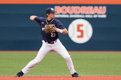 Cavan Biggio throws to first base during the NCAA Champaign Regional Game between Notre Dame and Illinois on May 31, 2015