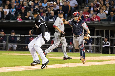 Ryan Hanigan chases down Trayce Thompson during the White Sox vs. Red Sox game on August 25, 2015