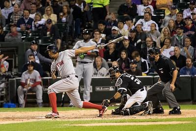 Xander Bogaerts bats during the Chicago White Sox game against the Boston Red Sox on August 25, 2015
