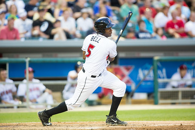 Josh Bell bats during the Indianapolis Indians game against the Charlotte Knights on August 1, 2015