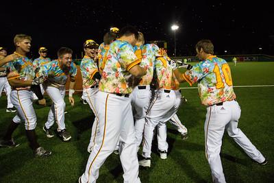 The Kokomo Jackrabbits celebrate their walk off win to end the season