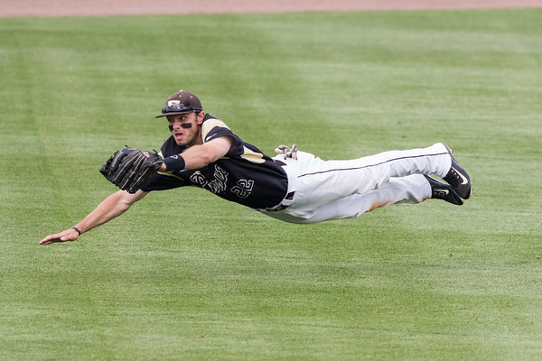 Kyle Johnson makes a diving catch in centerfield during the Purdue baseball game against Penn State on May 14, 2015