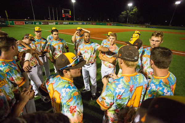 Kokomo Jackrabbit head coach Matt Howard addresses his team after their 5-4 win in 11 innings on August 6, 2015