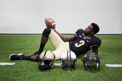 Bilal Marshall poses during the Purdue Football media day on August 9, 2015
