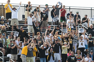 The Towson fans react to a goal during the NCAA Lacrosse First Round game between the Notre Dame Fighting Irish and Towson Tigers at Arlotta Stadium on May 9, 2015