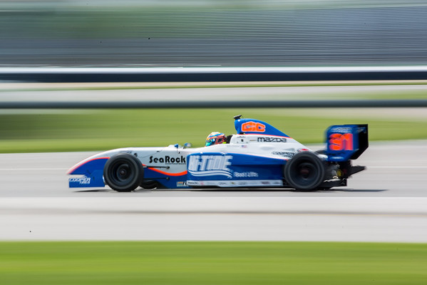 Kyle Connery on the track for the 2015 Pro Mazda at the Indianapolis Motor Speedway