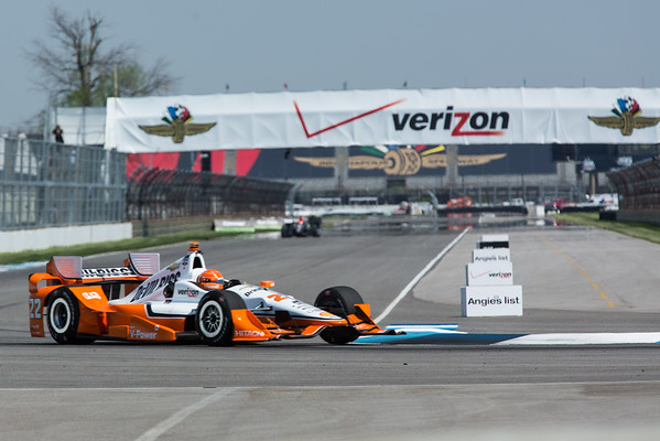 Simon Pagenaud on the track for the 2015 Angie's List Grand Prix of Indianapolis at the Indianapolis Motor Speedway