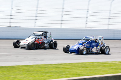David Byrne and Jarett Andretti battle during the Day Before the 500 race at Lucas Oil Raceway in Speedway, Indiana on May 23, 2015.