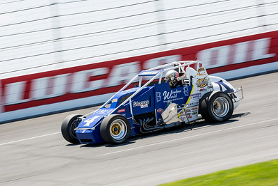 Jarett Andretti races during the Day Before the 500 race at Lucas Oil Raceway in Speedway, Indiana on May 23, 2015.