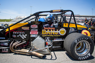 Tanner Swanson in his car prior to the Day Before the 500 race at Lucas Oil Raceway in Speedway, Indiana on May 23, 2015.