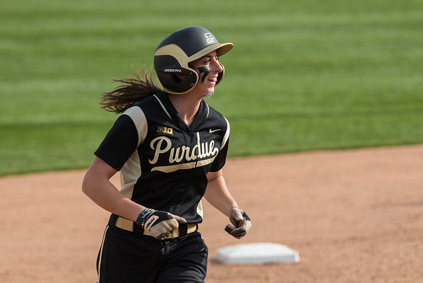 Ashley Burkhardt rounds second after hitting a two run home run for Purdue against Indiana State on April 29, 2015