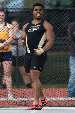 Chukwuebuka Enekwechi reacts to breaking the Purdue University record in the hammer throw