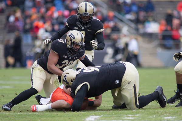 Bruce Gaston (90) then recovers the fumble for Purdue