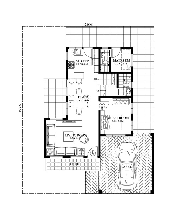 Sheryl four bedroom two story house design pinoy eplans for House plans by lot size