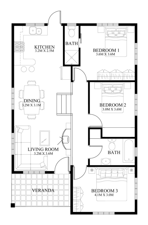 small house design 2014005 floor plan - Small House Designs