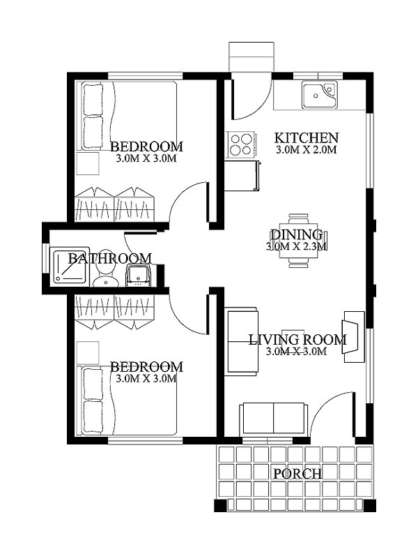 Small House Design 2012001 Floor Plan