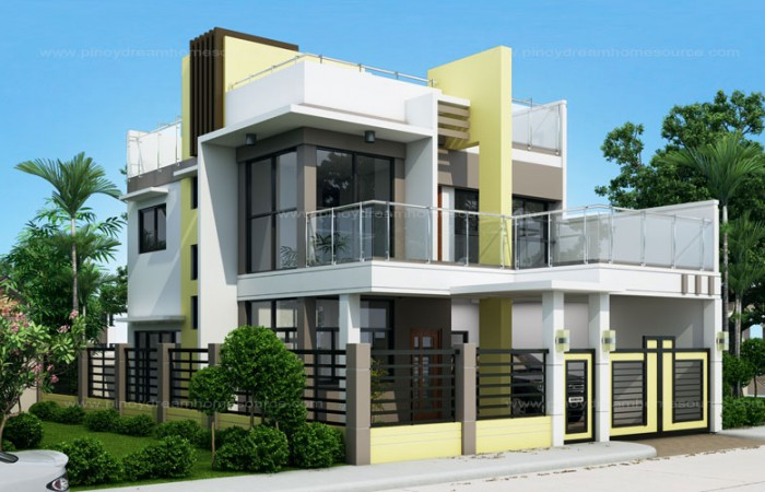 Prosperito Single Attached Two Story House Design With Roof Deck MHD 2016023 Pinoy EPlans