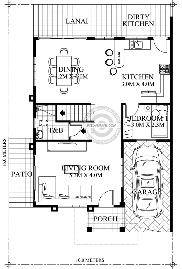 Johanne 2 story house plan with firewall pinoy eplans for Filipino house design with floor plan
