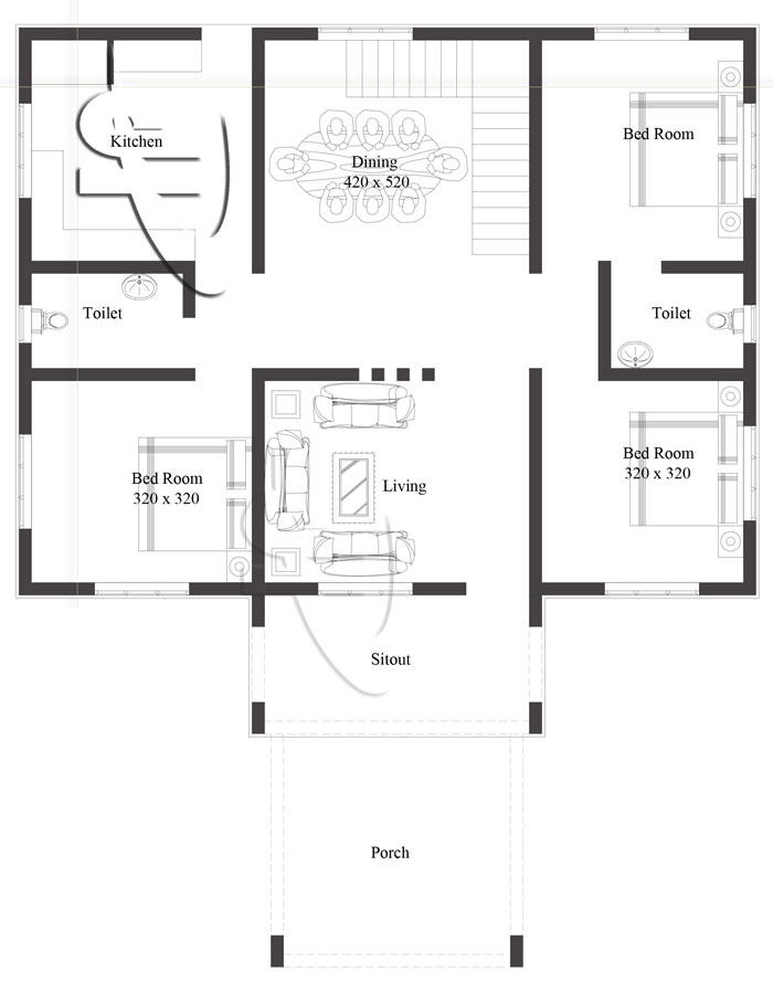 Modern 3 bedroom one story house plan pinoy eplans for Modern one bedroom house plans