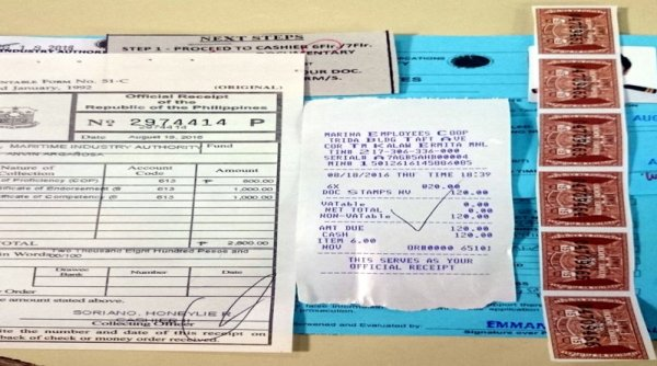 ETO COC Requirements, Procedures, and Fees - Receipt and Doc Stamps