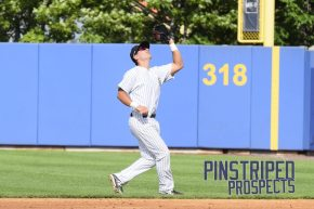 Staten Island Yankees second baseman Brandon Wagner makes the catch on a pop up in the fourth inning. (Robert M. Pimpsner)