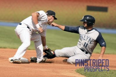 Staten Island Yankees second baseman Brandon Wagner left the game with a wrist injury (Robert M. Pimpsner)