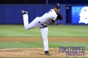 Staten Island Yankees pitcher Yoel Espinal impressed with his velocity and movement (Robert M. Pimpsner)