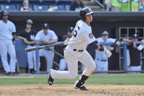 Thairo Estrada singles in the fifth inning (Robert M Pimpsner)