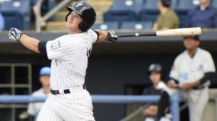 Griffin Gordon started the Yankees offense in the seventh inning. (Robert M Pimpsner)