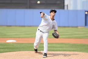 Luis Cedeno fires a pitch towards home plate for the Staten Island Yankees in 2015 (Robert M Pimpsner)