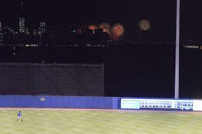 The annual Macy's Fourth of July Fireworks Display on the East River beyond the right-center field fence (Robert M Pimpsner)