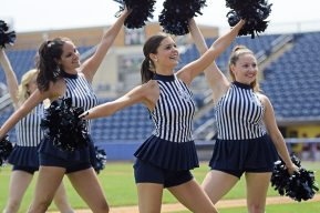 Members of the Pinstripe Patrol Dance Team perform in between innings (Robert M Pimpsner)