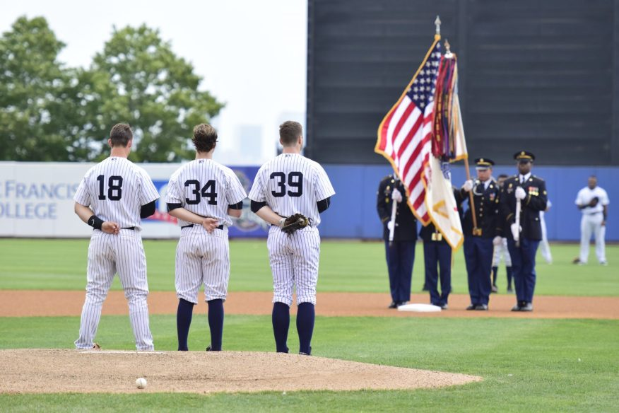 The West Point Military Police Color Guard presents the colors before Military Appreciation Day (Robert M Pimpsner)