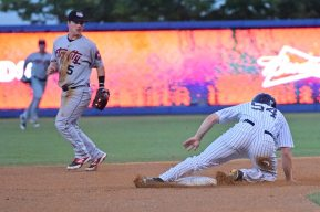 Jeff Hendrix slides into second base safely on a steal (Robert M Pimpsner)
