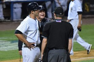 Yankees pitching coach Butch Henry was thrown out after arguing with the homeplate umpire (Robert M Pimpsner)