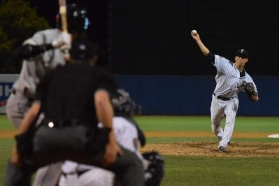 James Kaprielian fires a pitch to a Valley Cats batter in the game (Robert M Pimpsner)