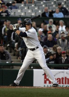 Yankees prospect Aaron Judge pitching for the Trenton Thunder in 2015 (Jessica Kovalcin)