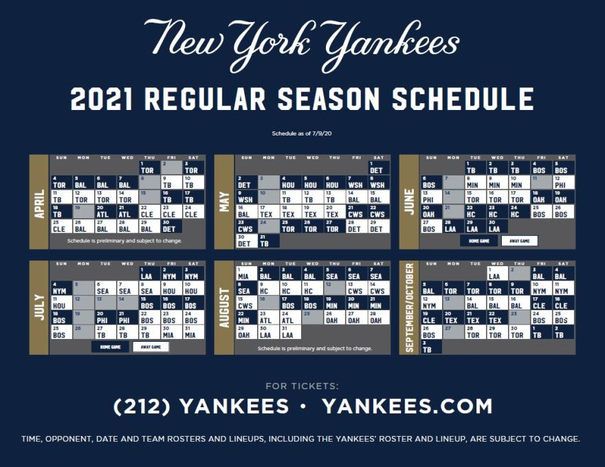 Yankees Release 2021 Schedule Pinstriped Prospects