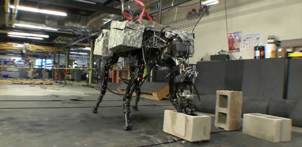 Quadruped BigDog Robot comes complete with throwing arm