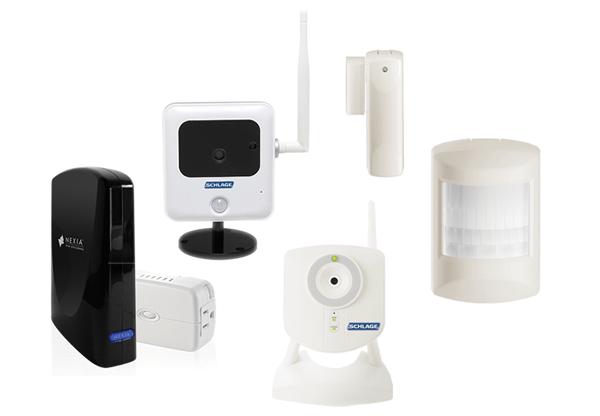 Nexia Home Intelligence, Bridge, Indoor and Outdoor Camera, Motion sensor, Window/Door Sensor, Dimmer Module