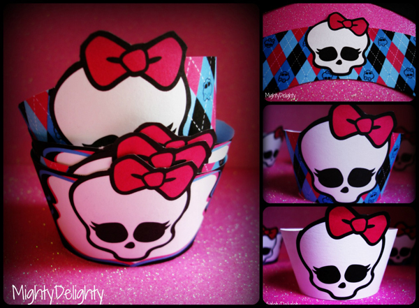 Free printable monster high cupcake wrappers skullette