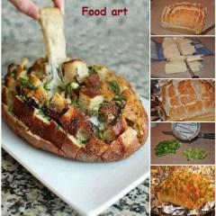 Pan de Hogaza con Queso Fundido y Verduras